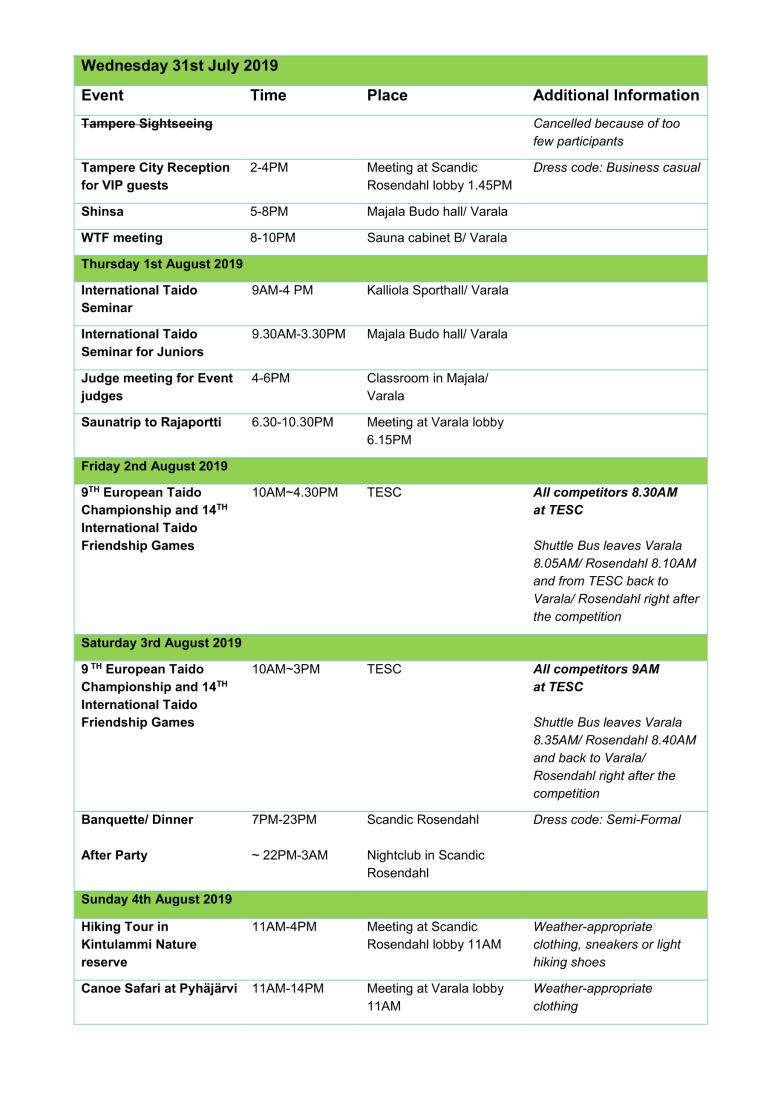 Updated schedule ETC2019